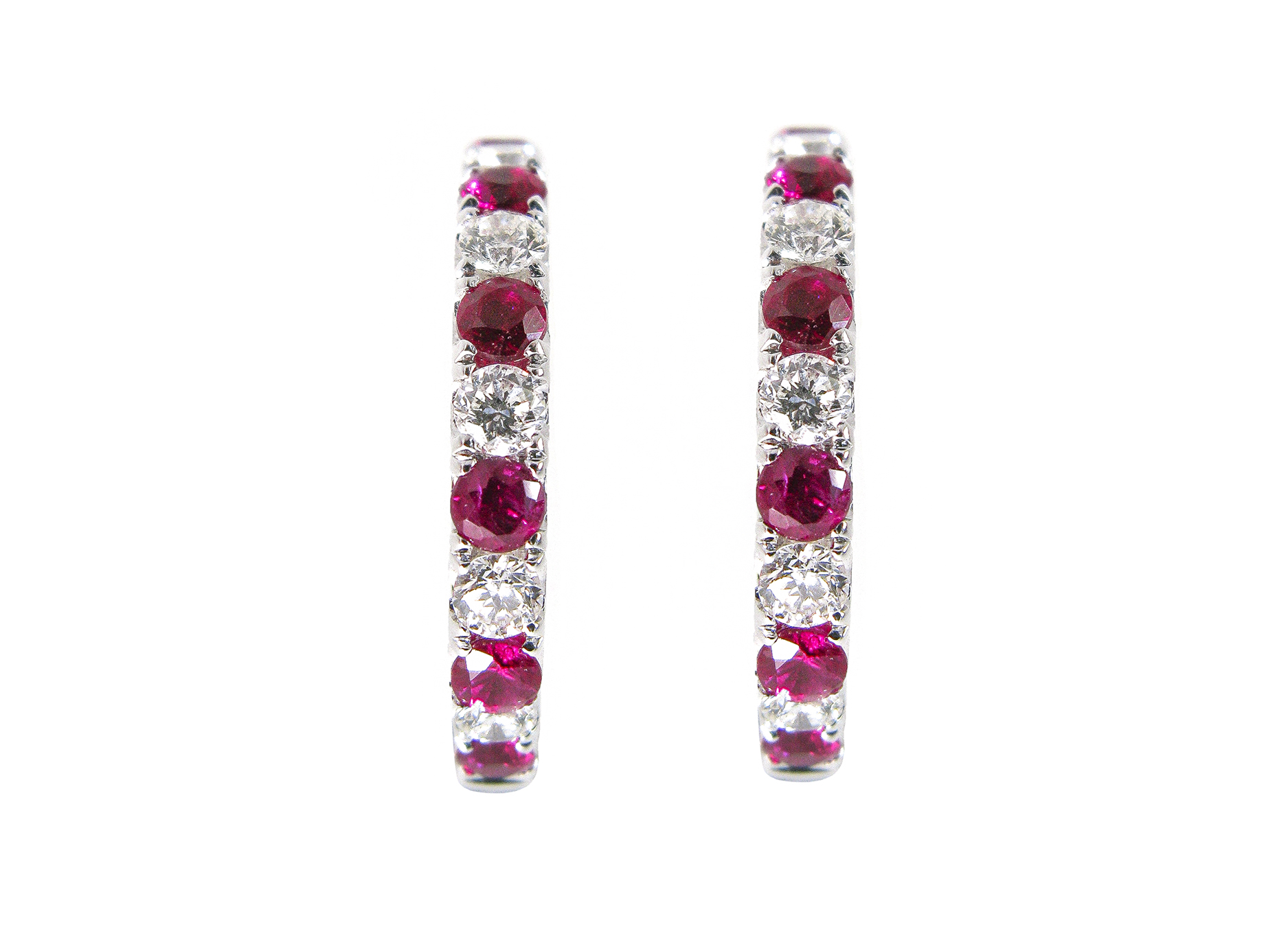 ruby and diamond hoop earrings | B20395
