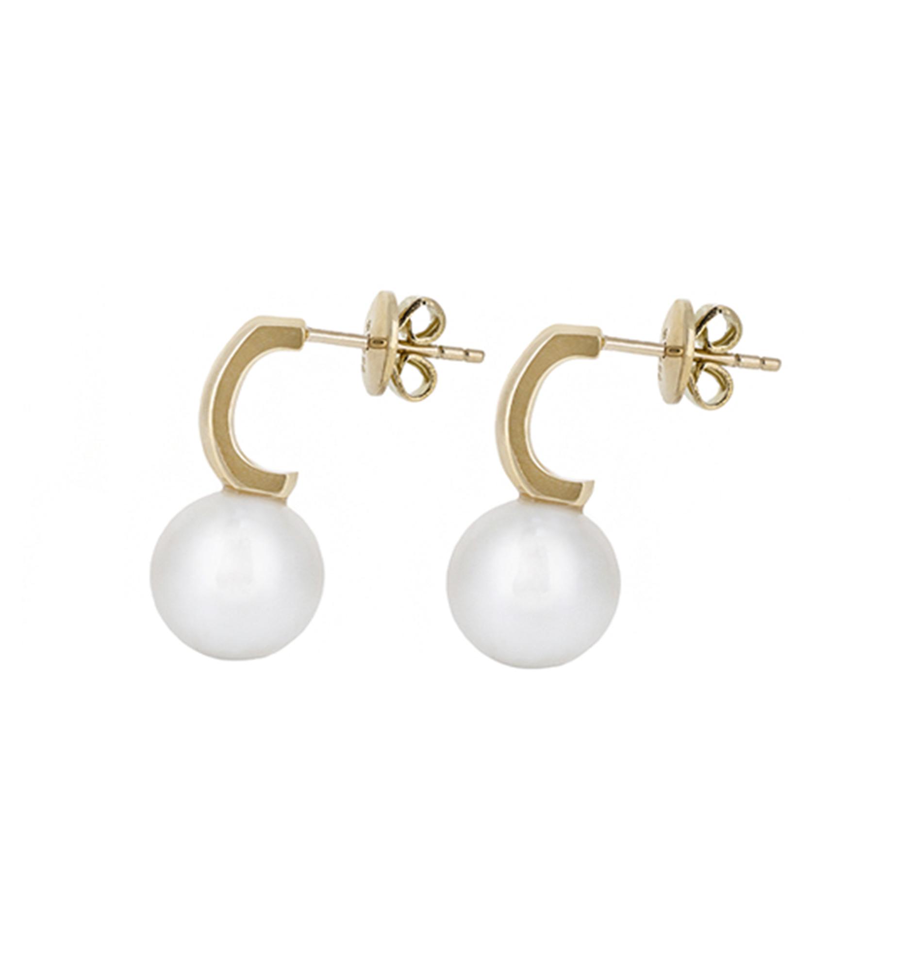 Yellow Gold Semi Hoop South Sea Pearl Earrings | B20591