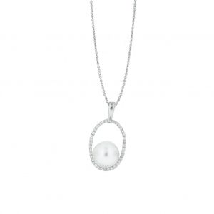 South Sea Pearl and Diamond Halo Pendant | B20849