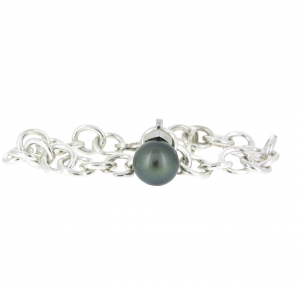 Black South Sea Pearl Silver Bracelet | B20886