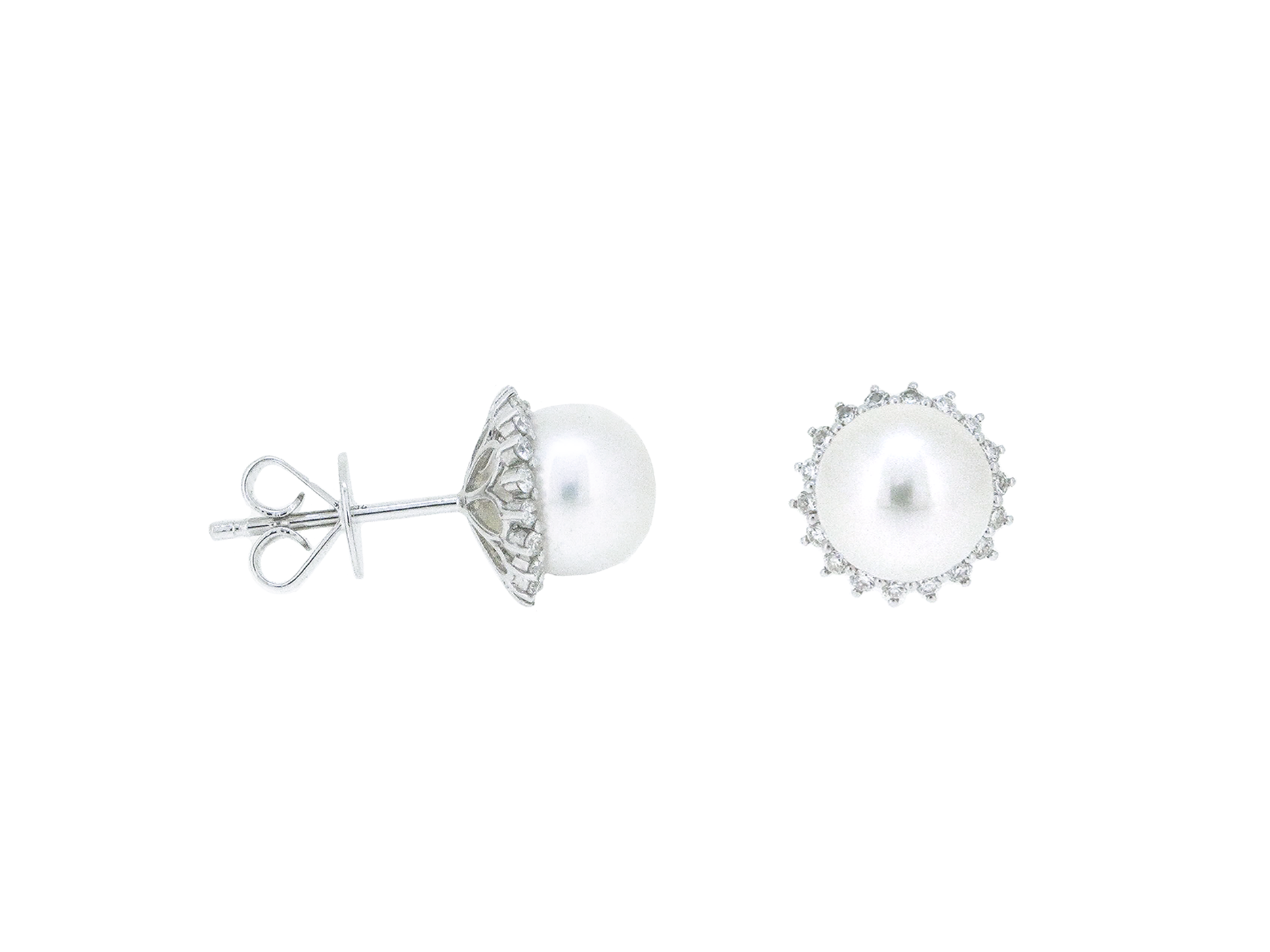 Akoya Pearl Diamond Halo Stud Earrings | B20623