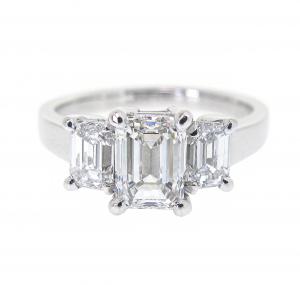 Emerald Cut Diamond Trilogy Ring | B22072