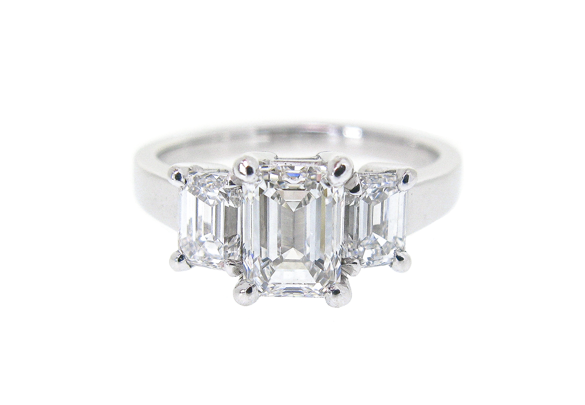 Emerald Cut Diamond Trilogy Ring | B20978