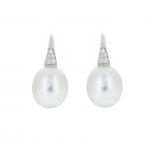 Autore South Sea Pearl Diamond Hook Earrings | B21001