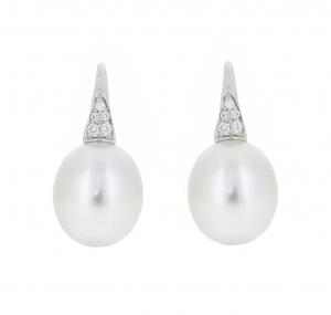 Autore South Sea Pearl Diamond Hook Earrings | B21001