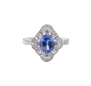 Deco Style Sapphire And Diamond Ring | B21009