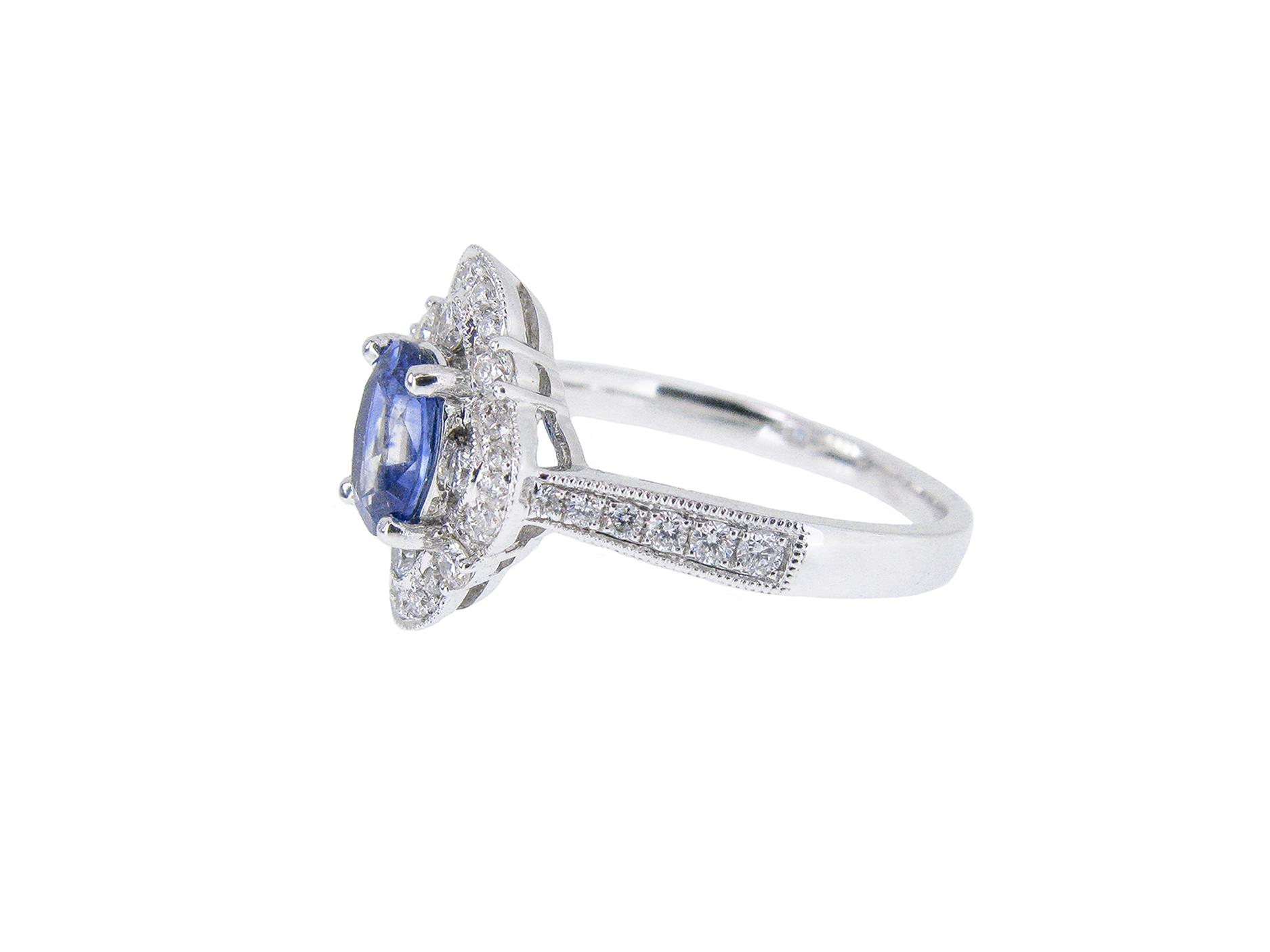 Sapphire And Diamond Deco Style Ring | B21009