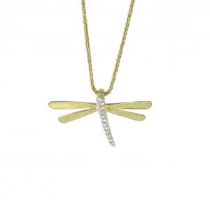 Diamond Set Dragonfly Necklace | B21024