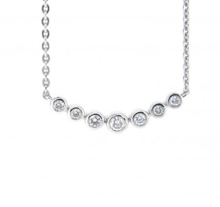 Bezel Set Diamond Bar Necklace   B21031(1)