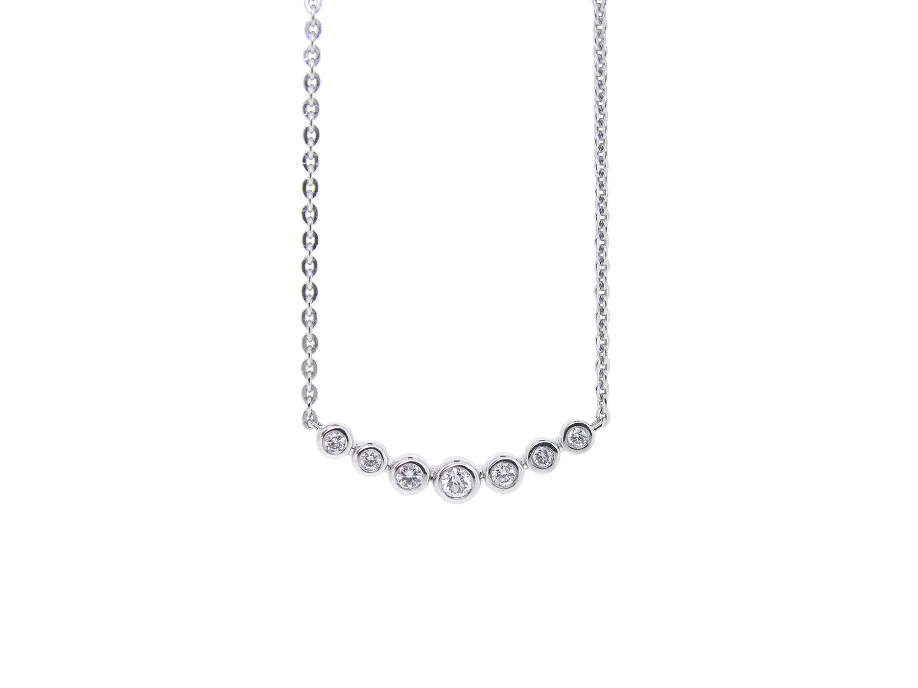 Bezel Set Diamond Bar Necklace | B21031