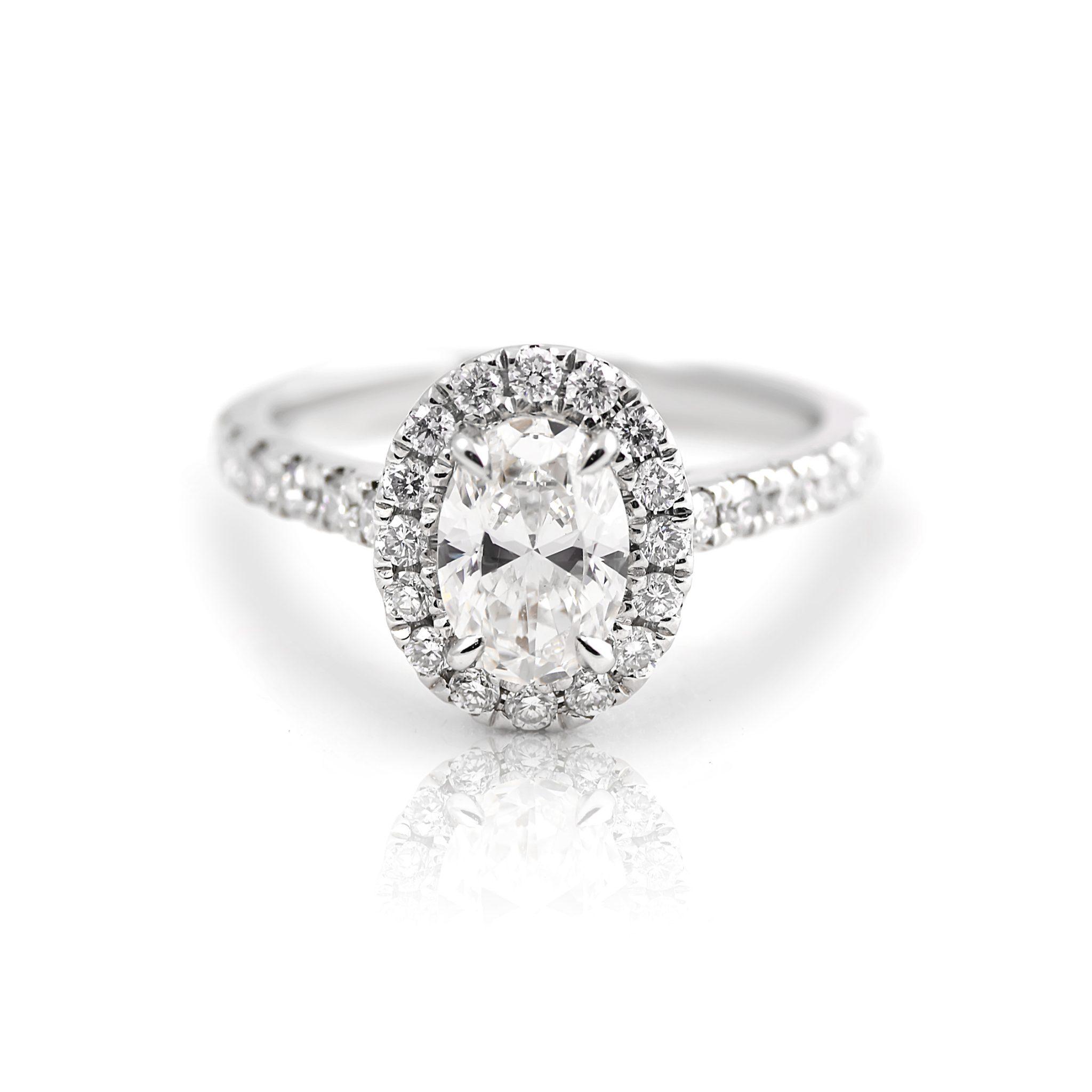 Oval Cut Diamond Halo Engagement Ring | B20981