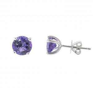 Amethyst Four Claw Stud Earrings | B20380