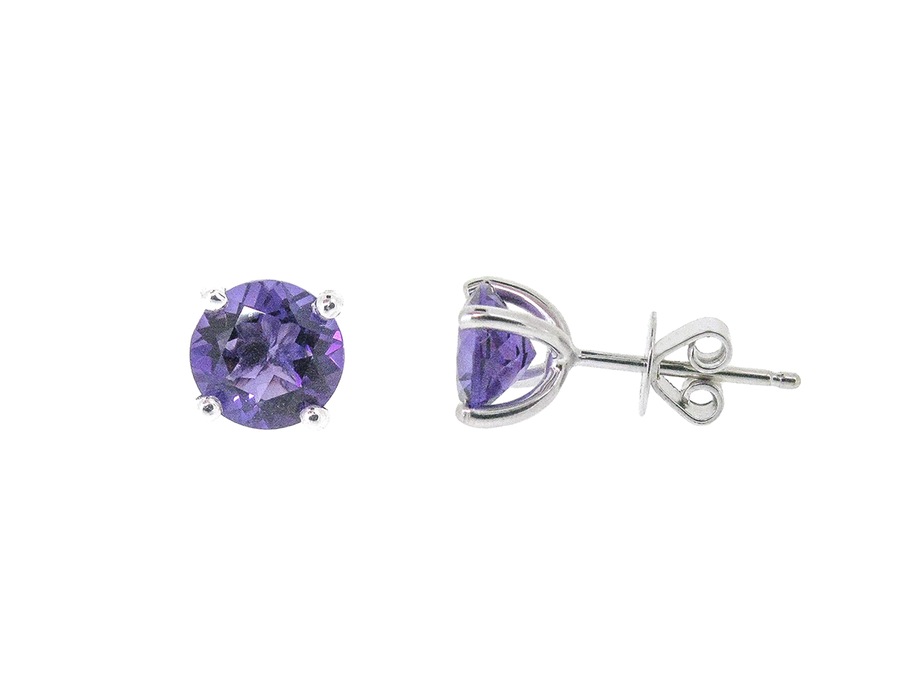Amethyst Four Claw Stud Earrings | B20380
