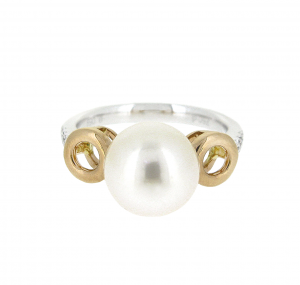 Two Tone Gold Fresh Water Pearl Ring | B20857