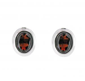 Bezel Set Garnet Stud Earrings | B20762