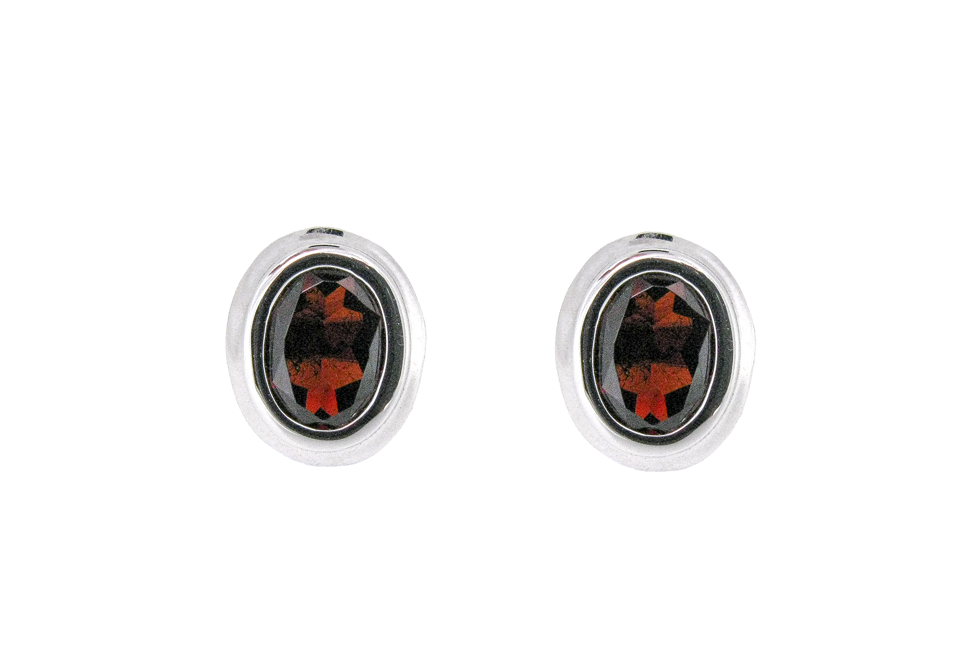 Bezel Set Garnet Stud Earrings | B20762