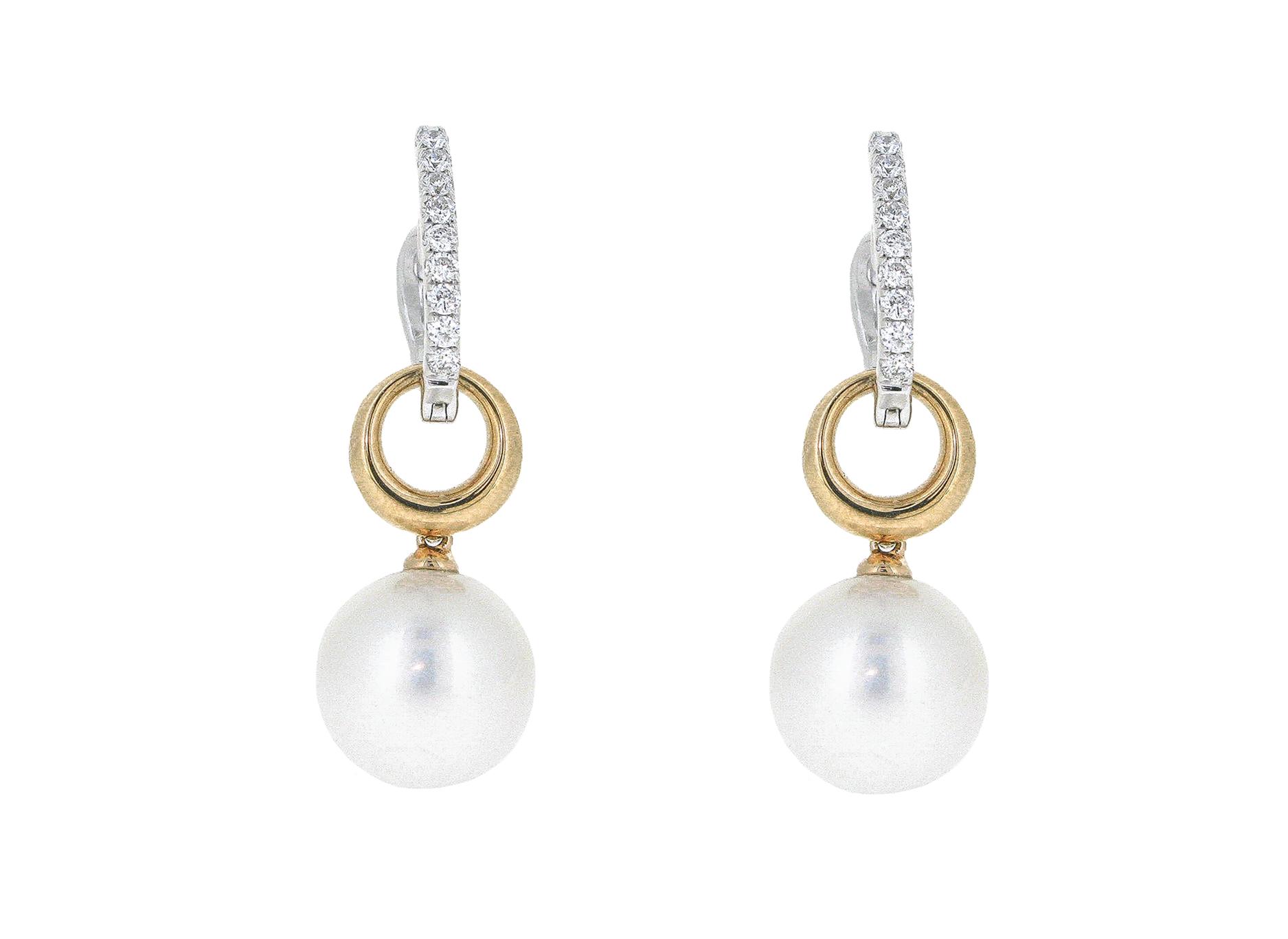 Two Tone Gold Drop Fresh Water Pearl Earrings | B20858