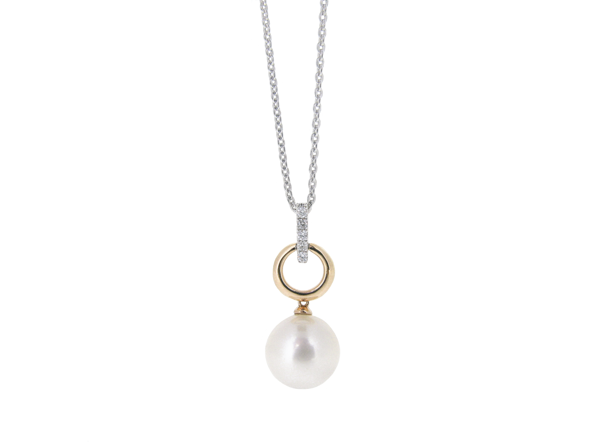 Two Tone Gold Drop Fresh Water Pearl Necklace | B20859