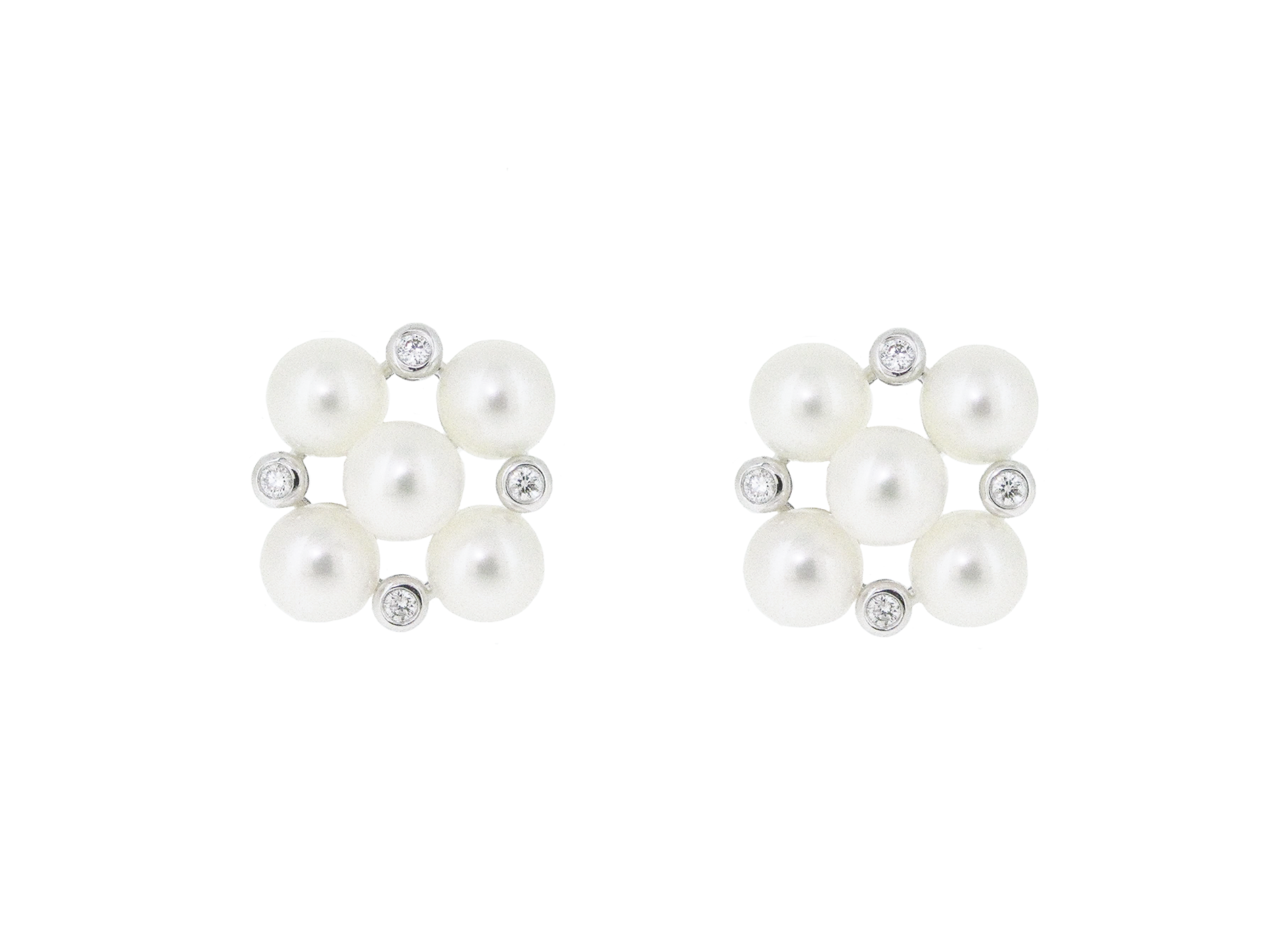 Fresh Water Pearl And Diamond Cluster Earrings | B20861