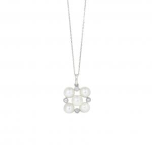 Fresh Water Pearl And Diamond Cluster Pendant | B20862