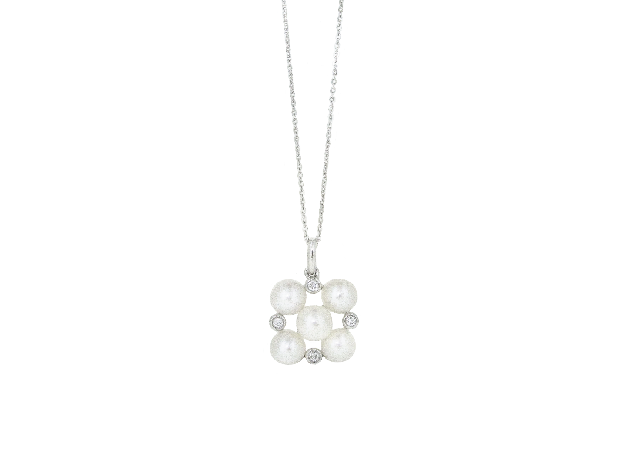 Fresh Water Pearl And Diamond Cluster Pendant | B20862