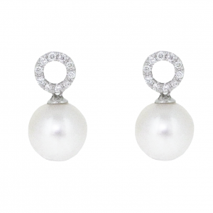 Fresh Water Pearl And Diamond Earrings | B20864