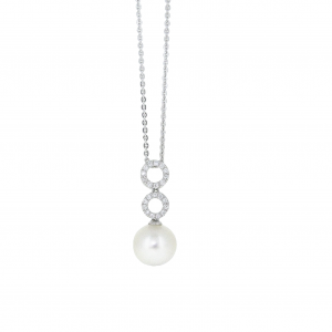 Fresh Water Pearl And Diamond Necklace | B20865