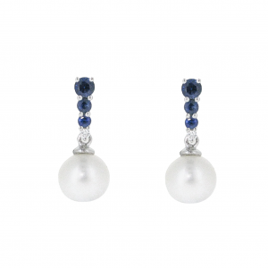 Fresh Water Pearl And Sapphire Earrings | B20873
