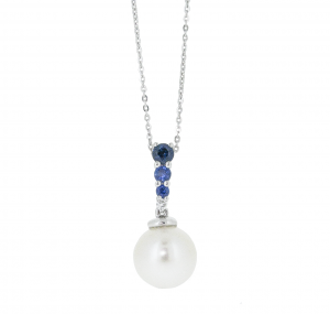Fresh Water Pearl And Sapphire Pendant | B20874