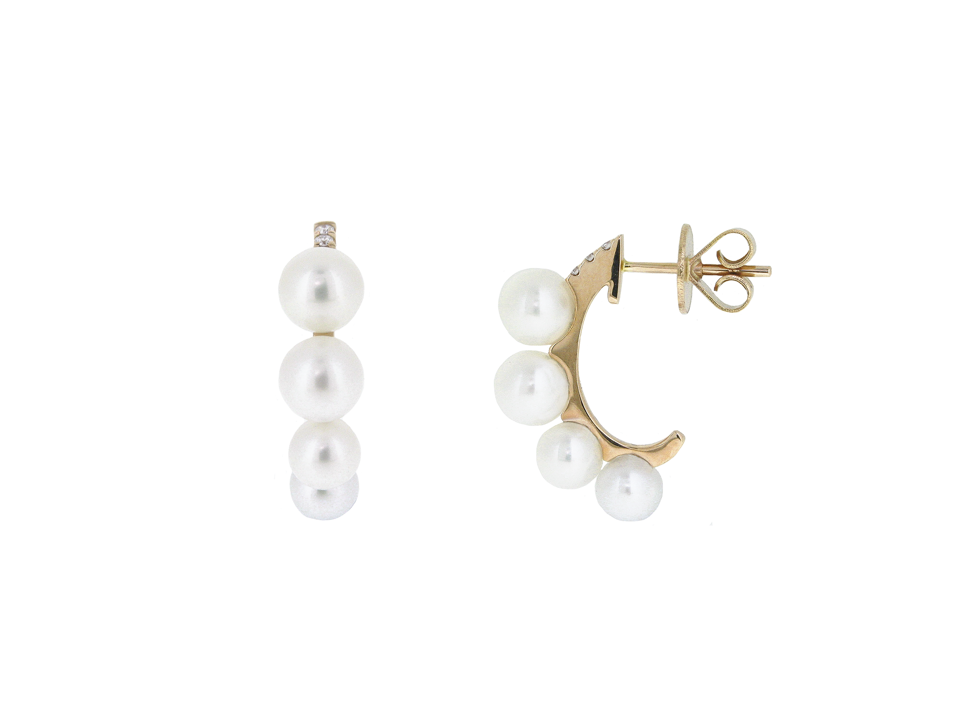 Rose Gold Fresh Water Pearl Half Hoop Earrings | B20881