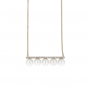 Fresh Water Pearl And Diamond Necklace | B20882