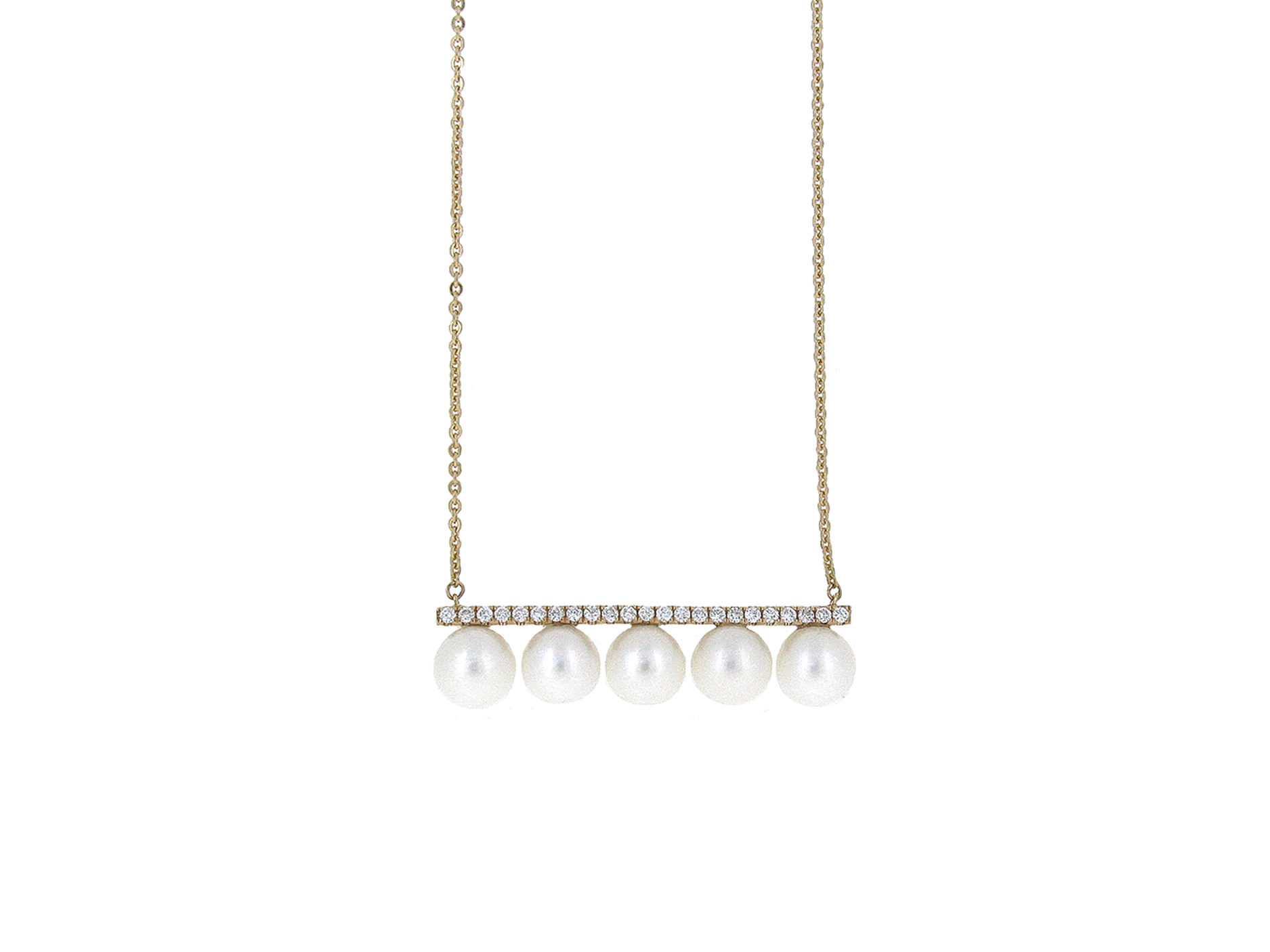 Rose Gold Fresh Water Pearl And Diamond Necklace | B20882