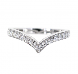 V Shape Diamond Set Band | B21080