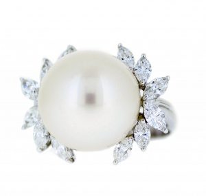 South Sea Pearl And Marquise Diamond Ring | B21087