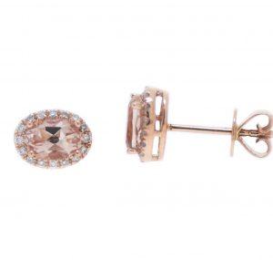 Morganite And Diamond Halo Earrings | B21099