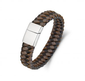 Two Tone Leather Plaited Bracelet | B22165