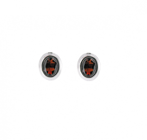 Garnet Stud Earrings Bezel Set | B20762