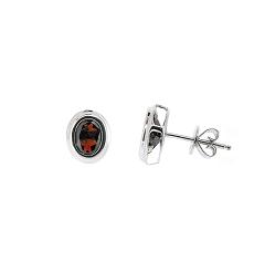 Garnet Stud Earrings Bezel Set | B20762