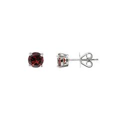 Garnet Stud Earrings Claw Set | B19050