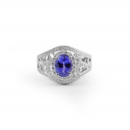 Tanzanite Art Deco Style Ring | B21113