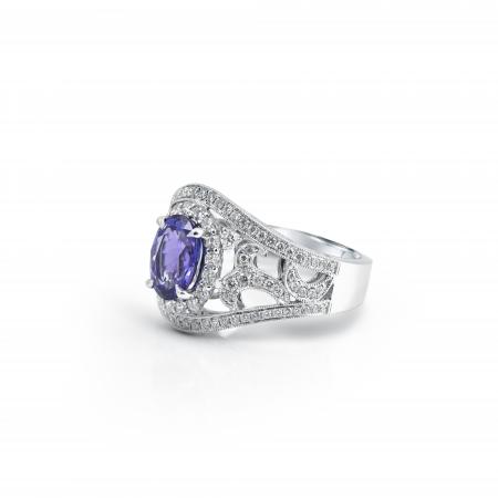 Tanzanite Art Deco Style Ring | B21113.1