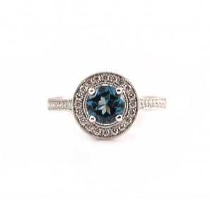London Blue Topaz And Diamond Ring | B21189