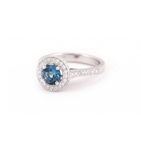 London Blue Topaz And Diamond Ring | B21189