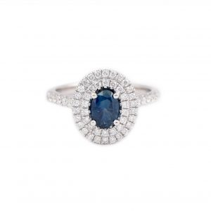 Double Diamond Halo And Sapphire Ring | B21192