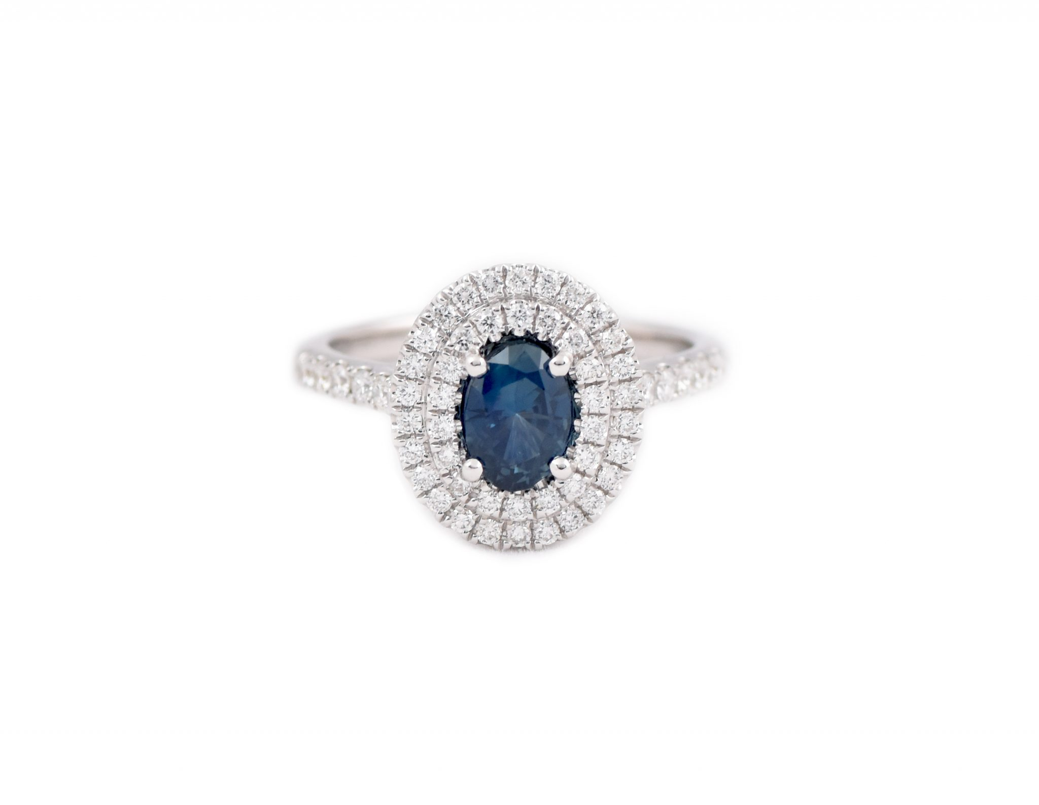 Sapphire And Diamond Double Halo Ring | B21192