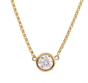 Bezel Set Diamond Yellow Gold Necklace | B22381