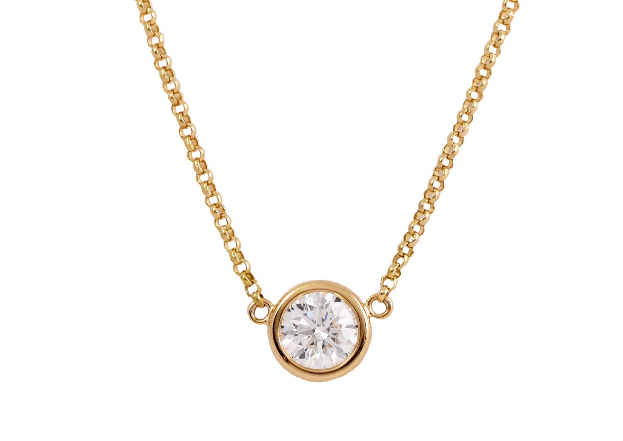Yellow Gold Bezel Set Diamond Pendant | B21276