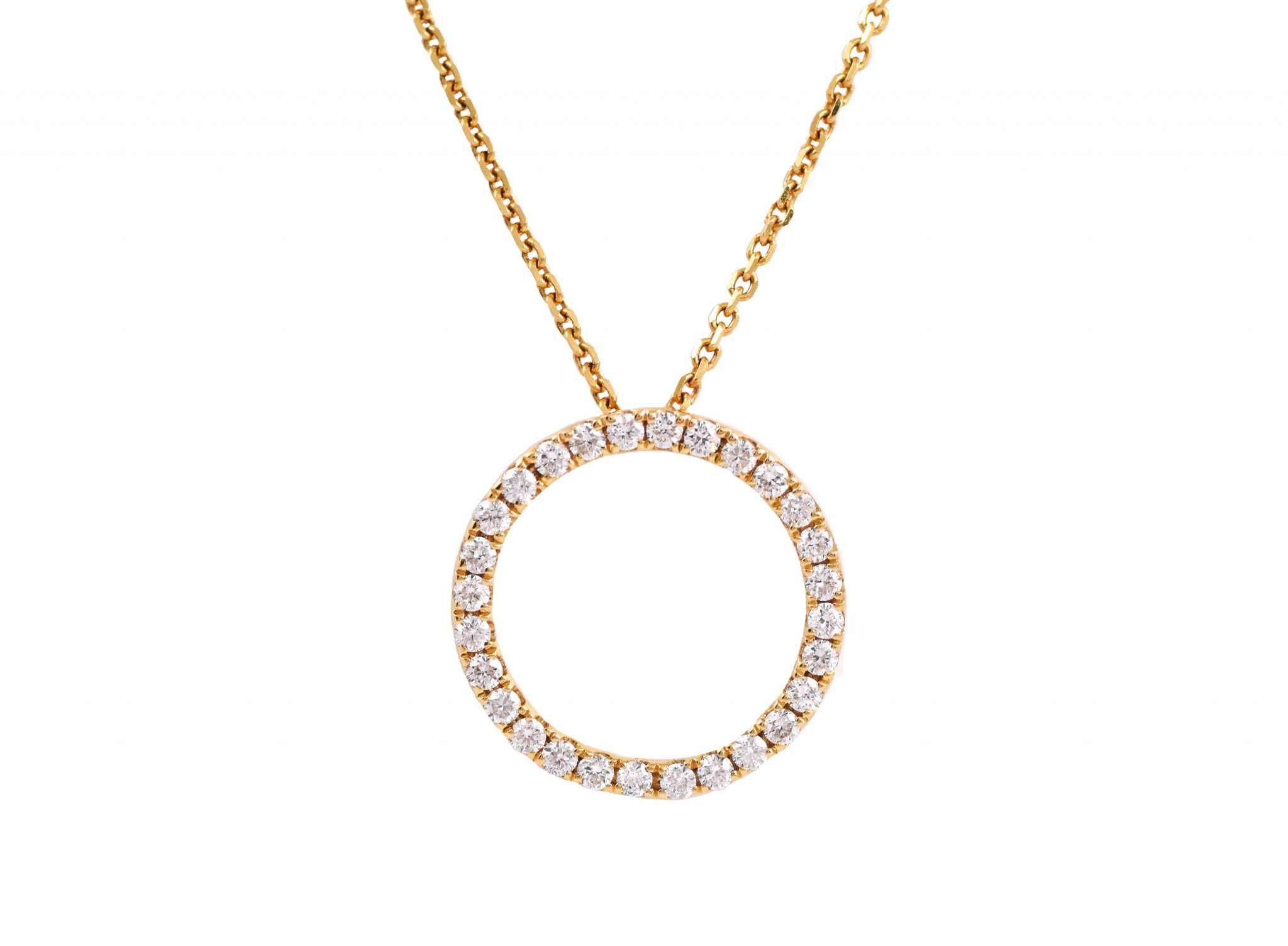 Yellow Gold Circle Of Life Diamond Pendant | B21318