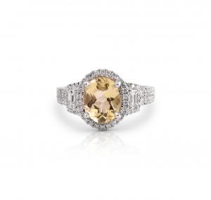 Yellow Beryl And Diamond Ring   B21359