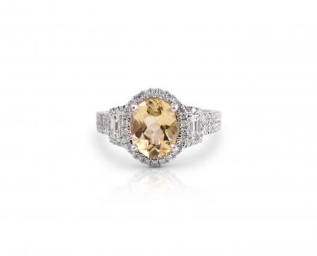 Yellow Beryl And Diamond Ring | B21359
